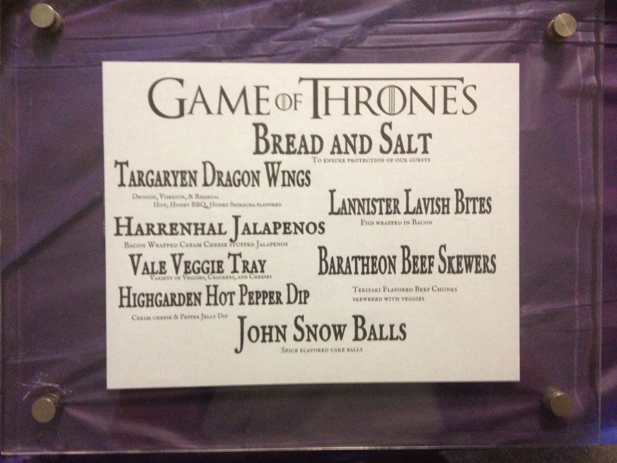 Game Of Thrones Dinner Menu Games Of Thrones Party Got Party
