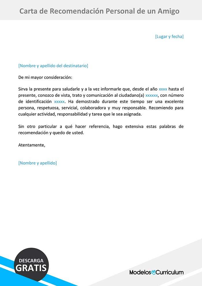Trabajo Personal Trabajo Formato De Carta De Recomendacion Carta De Recomendacion Personal De Un Amigo Cartas De