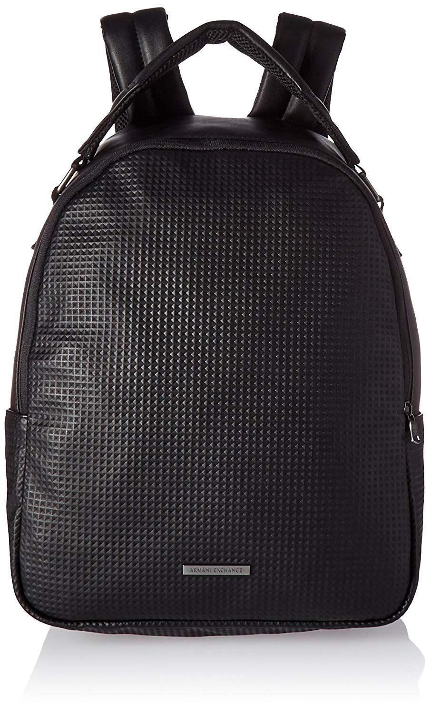 60dac2b9a3e  Affiliate  Amazon.com  Armani Exchange Men s Embossed Pu Backpack, Black  Print Diamond, TU  Clothing