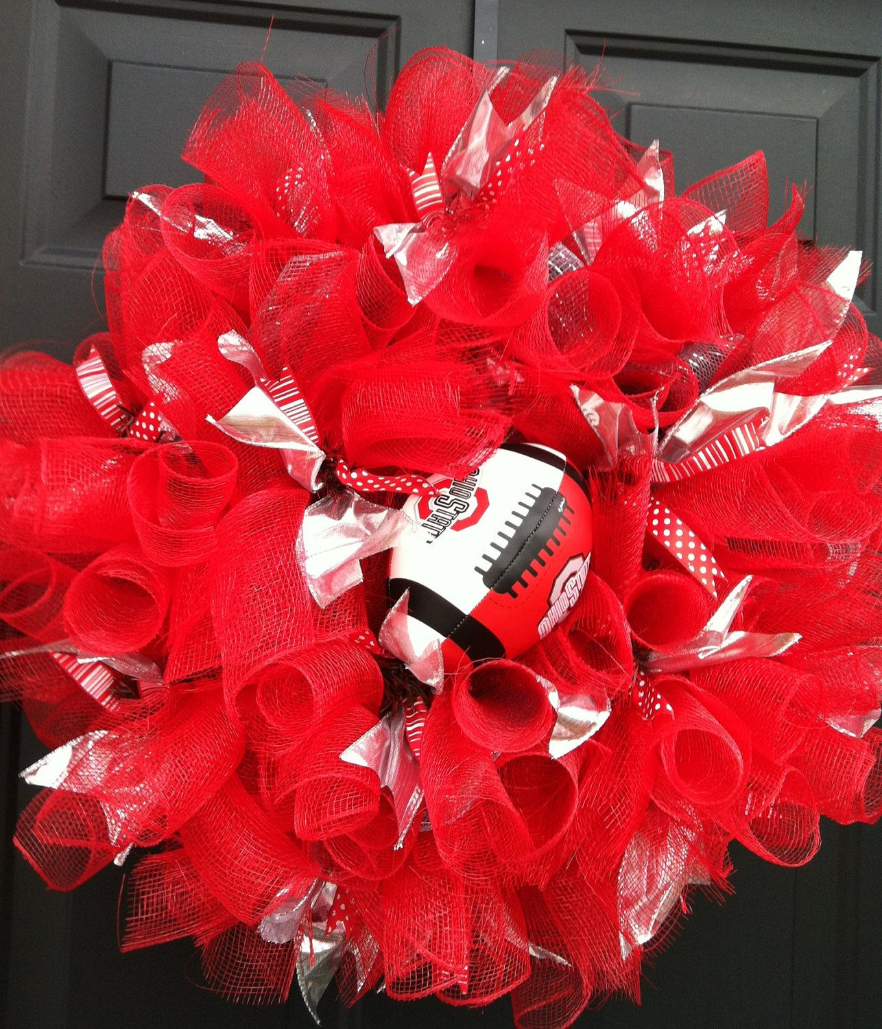 Ohio State Buckeyes football deco mesh wreath. $50.00, by Adornments4Living on Etsy.com!