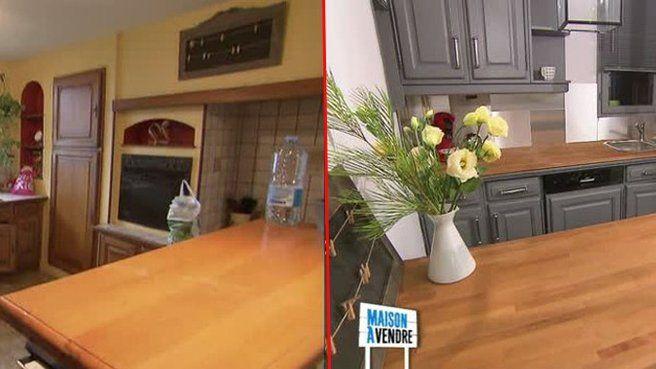 M6 Maison à vendre - le gris des meubles, le plateau en bois clair