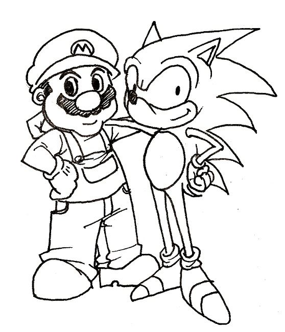 coloring pages sonic and mario   Cartoon   Pinterest