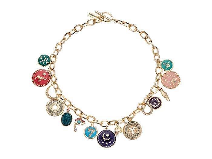 Steve Madden Womens 7 Rhinestone Lucky Charm Chain Necklace