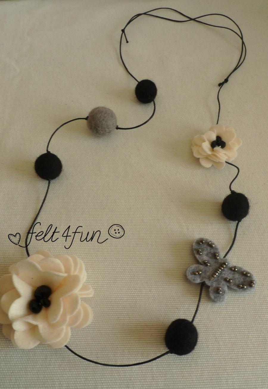 di prim'ordine miglior prezzo scarpe eleganti collana fiore farfalla grigia nera   Collana di feltro, Collane e ...
