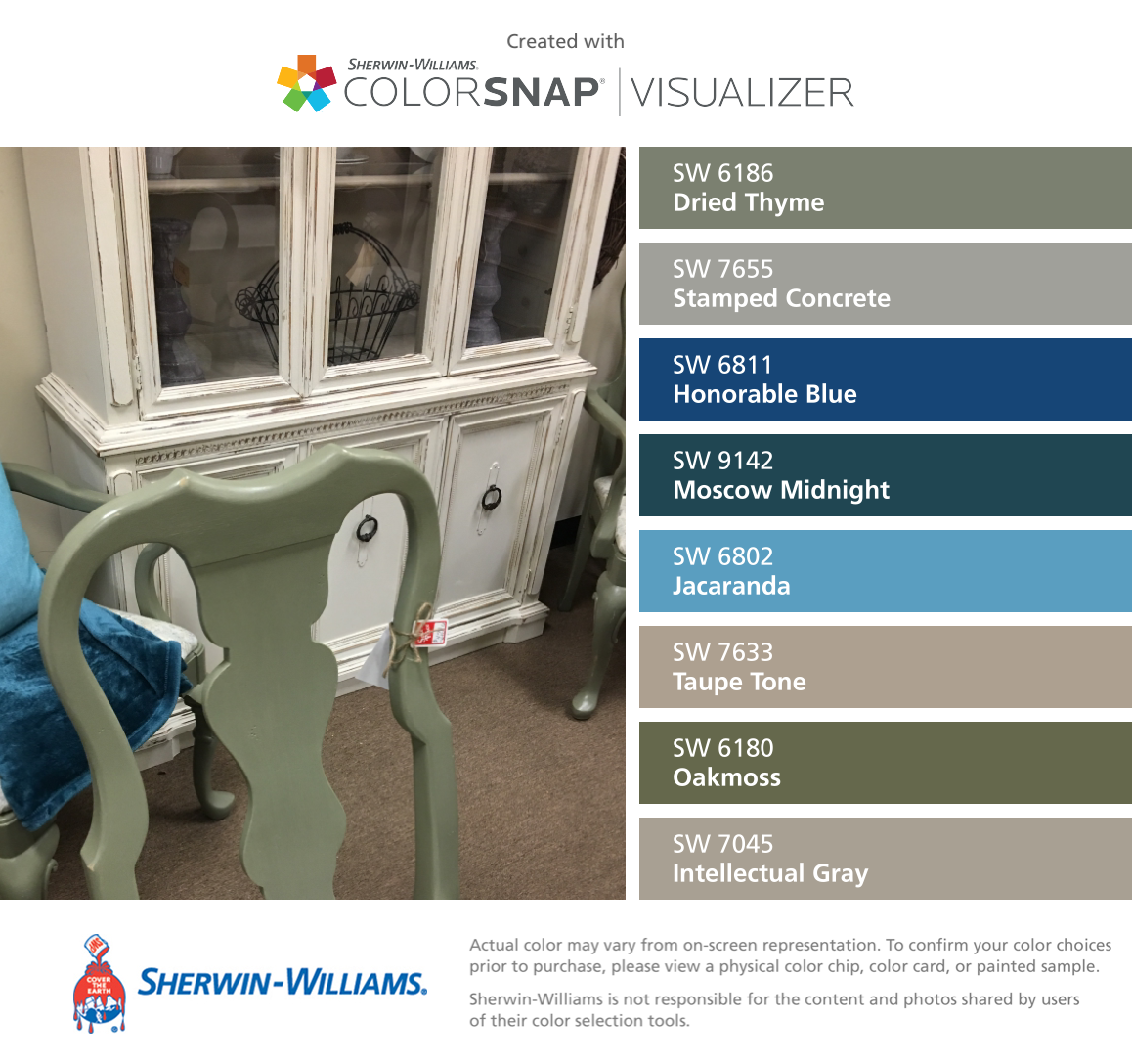 I found these colors with ColorSnap® Visualizer for iPhone by Sherwin-Williams: Dried Thyme (SW 6186), Stamped Concrete (SW 7655), Honorable Blue (SW 6811), Moscow Midnight (SW 9142), Jacaranda (SW 6802), Taupe Tone (SW 7633), Oakmoss (SW 6180), Intellectual Gray (SW 7045). #cityloftsherwinwilliams