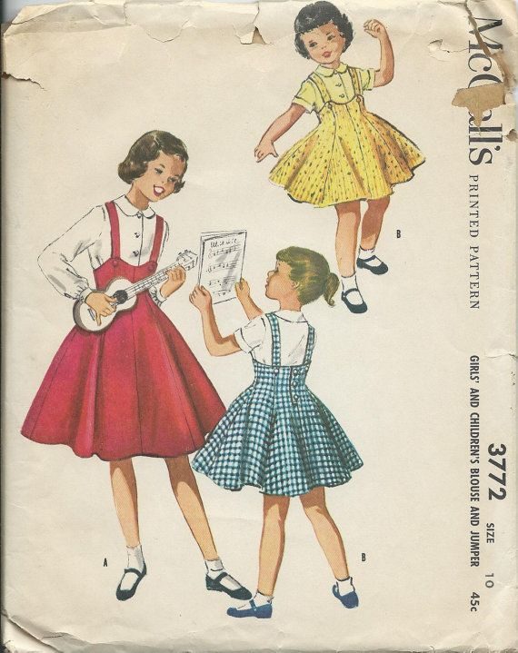 1950\'s McCalls 3772 Girls Blouse and Flared by DawnsDesignBoutique ...