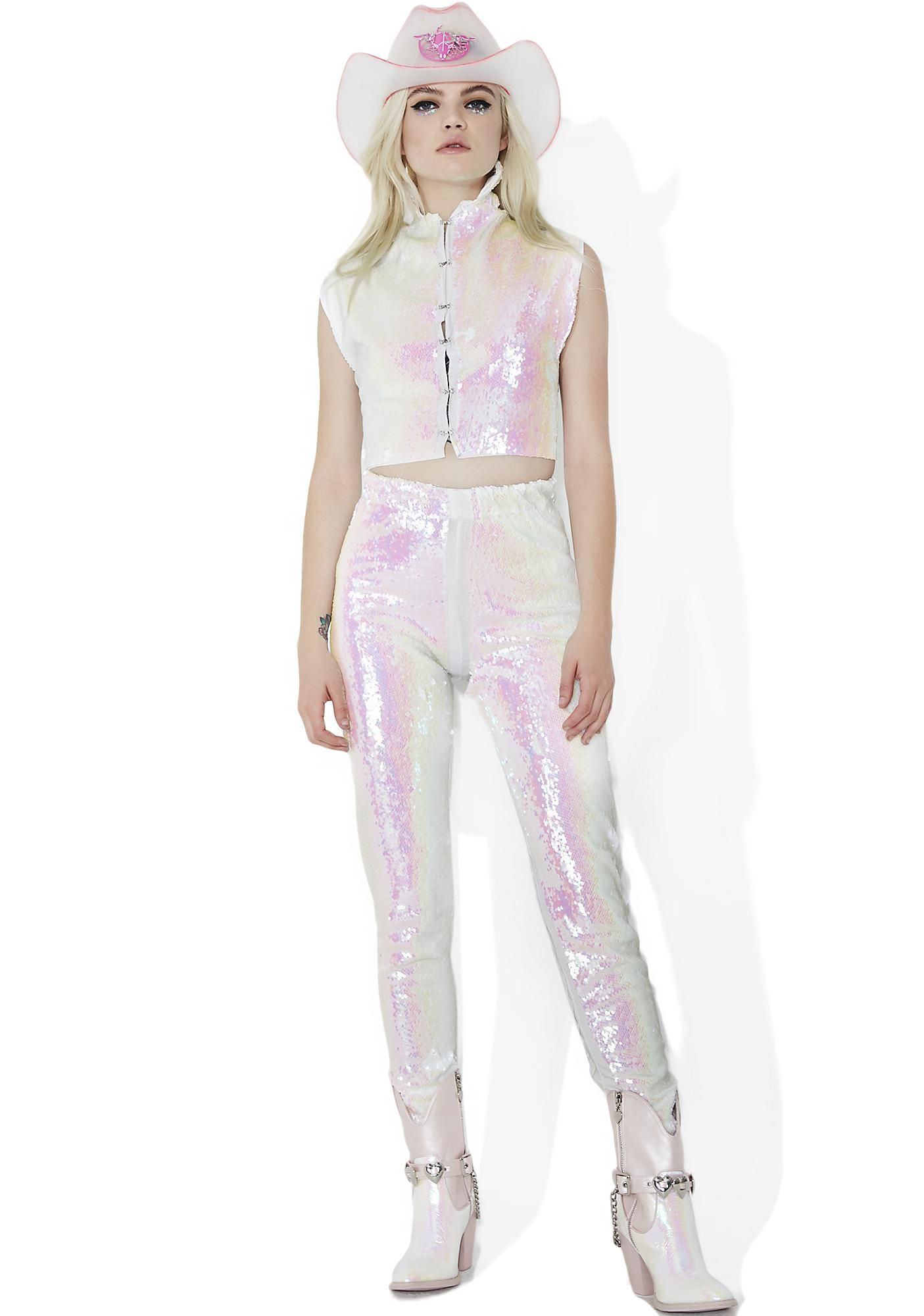 ESQAPE Jewel Two Piece Set is gonna blind 'em wit yer fierceness, bb. Shine bright in this dope af matching set that features a super shiny iridescent sequin construction, sleeveless crop top with a hook front closure and collared neckline, and slim-fitting pants with a stretchy waistband and mid-rise fit.