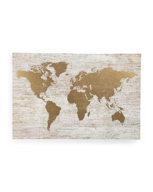 Large Gold Foil World Map On Canvas