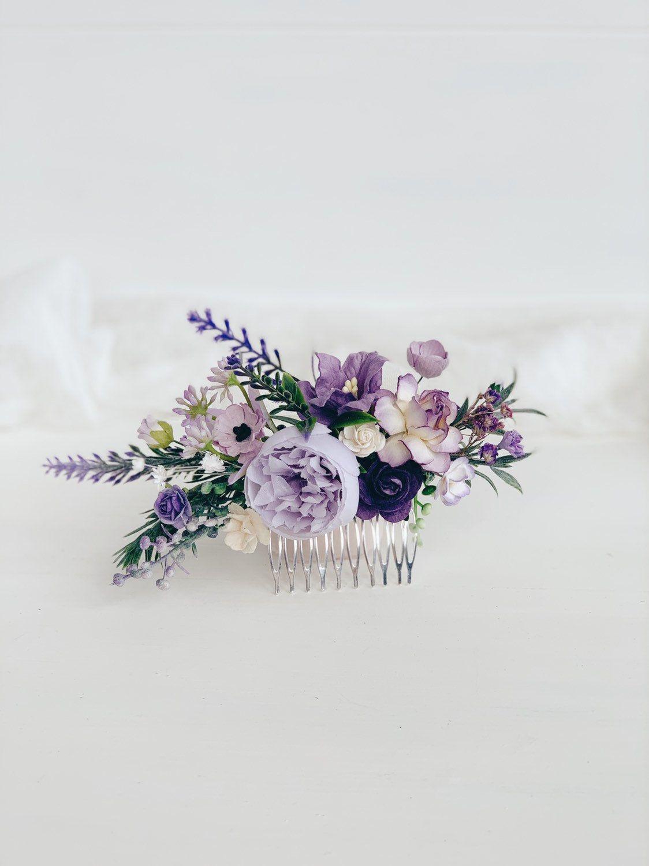 Flower hair comb, Lavender Hair comb, wedding hair piece, Purple hair comb, Wedding hair piece, Bridesmaids
