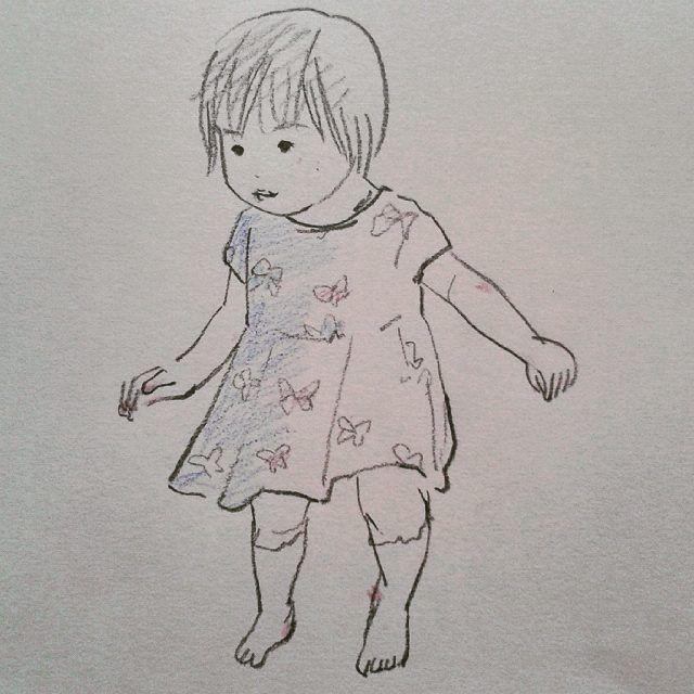 Shinobu Wada Baby girl with butterfly dress #draw #drawing #sketch