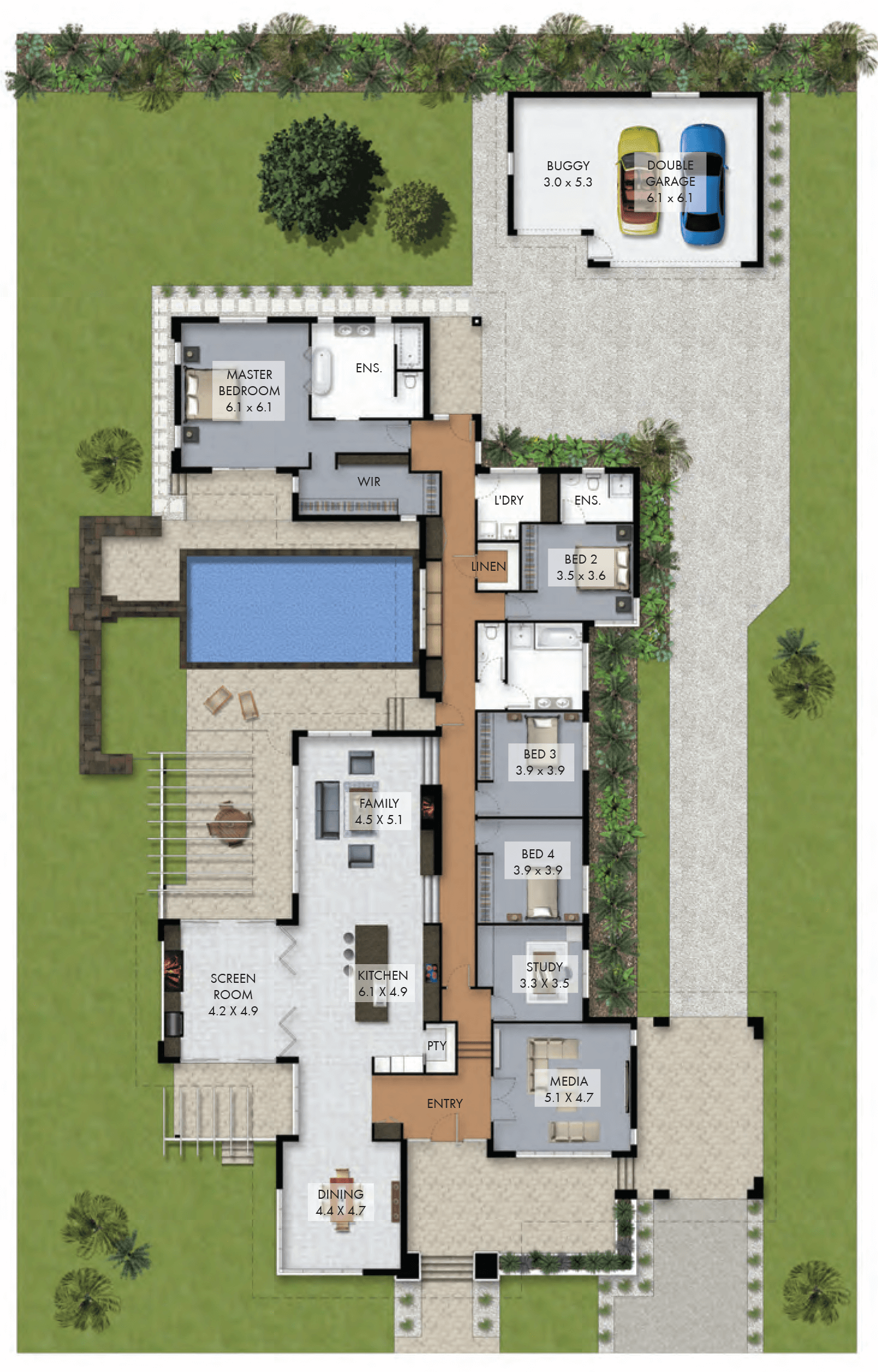 Floor Plan Friday: Luxury 4 bedroom family home with pool | Layouts ...