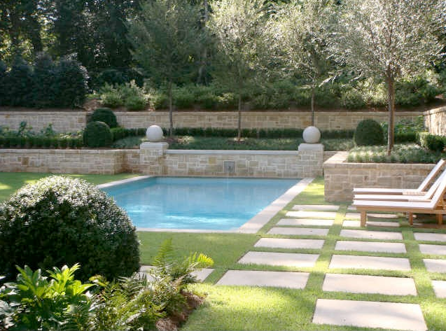 Selecting The Pool Color Inground Pool Landscaping Swimming Pool Landscaping Stone Pool Deck
