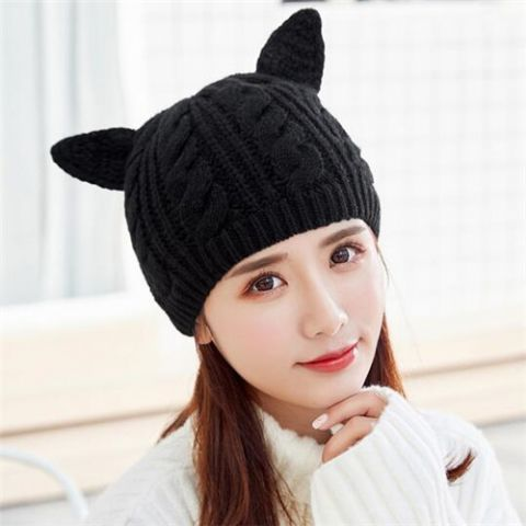 Knit Beanie Hat · Winter Hats For Women · Ear Hats · Plain Black · Ears ·  Cable · Cabo · Electrical Cable · https   www.buyhathats.com plain-black-cat - e89010bd0a7a