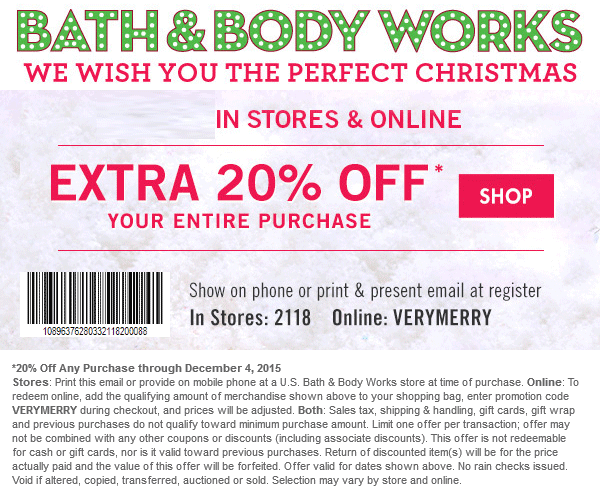 Extra 20 Off At Bath Body Works Or Online Via Promo Code Verymerry Body Works Bath And Body Bath And Body Works