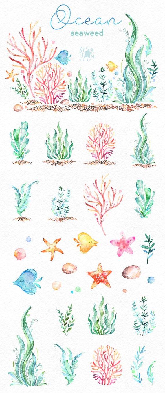 Ozean. Algen. Unterwasser-Aquarell ClipArt, Wasserpflanzen, Seaware, Fische, Seesterne, Meer, nautisch, Unterwasser, Aquarium, Babyshower, Alge #craftsaleitems