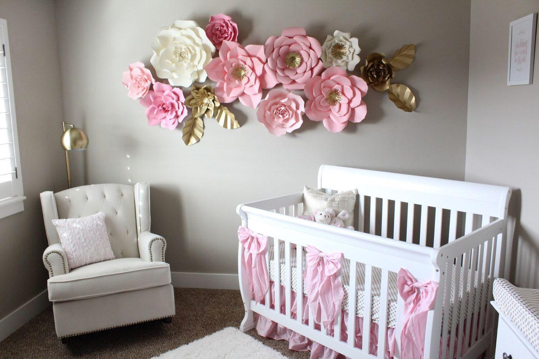 12 pc paper flowers nursery nursery room customize your colors babyzimmer und wandgestaltung - Babyzimmer janne ...