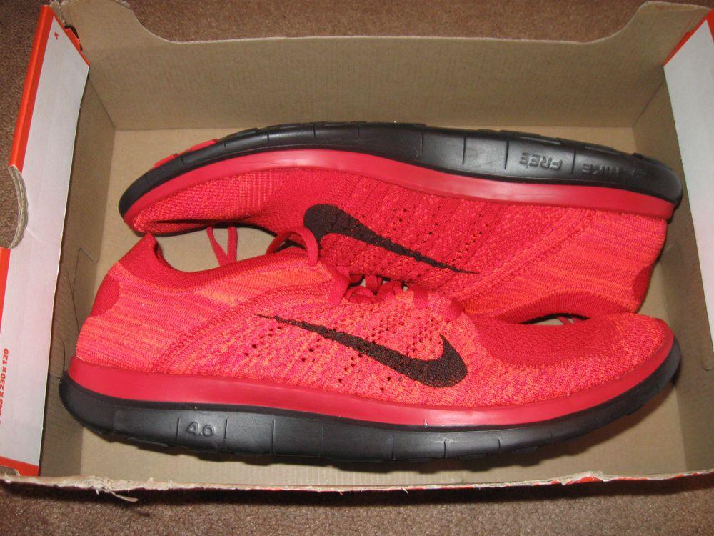 Nike Flyknit 4.0 Mens Running Shoes 10.5 Red Black Crimson 631053 604