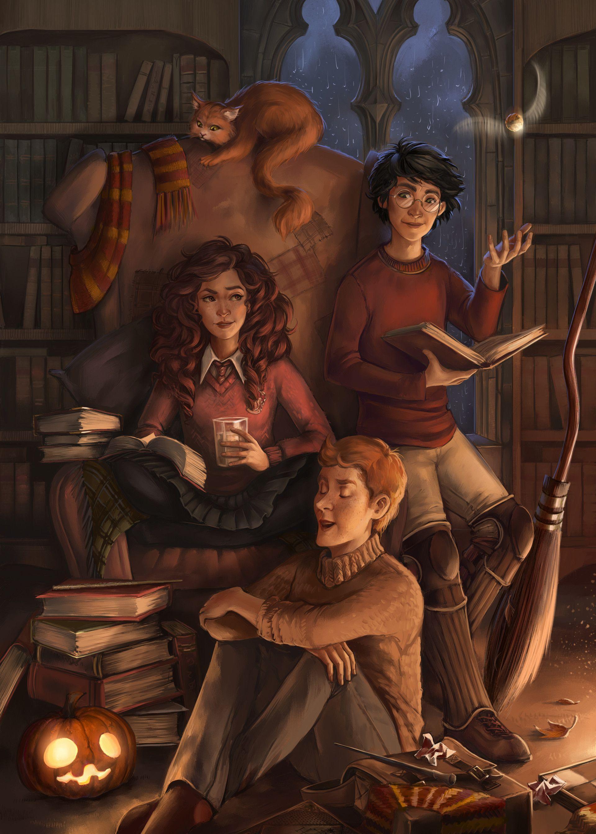 Artstation Golden Trio K K Harry Potter Artwork Harry Potter Illustrations Harry Potter Background