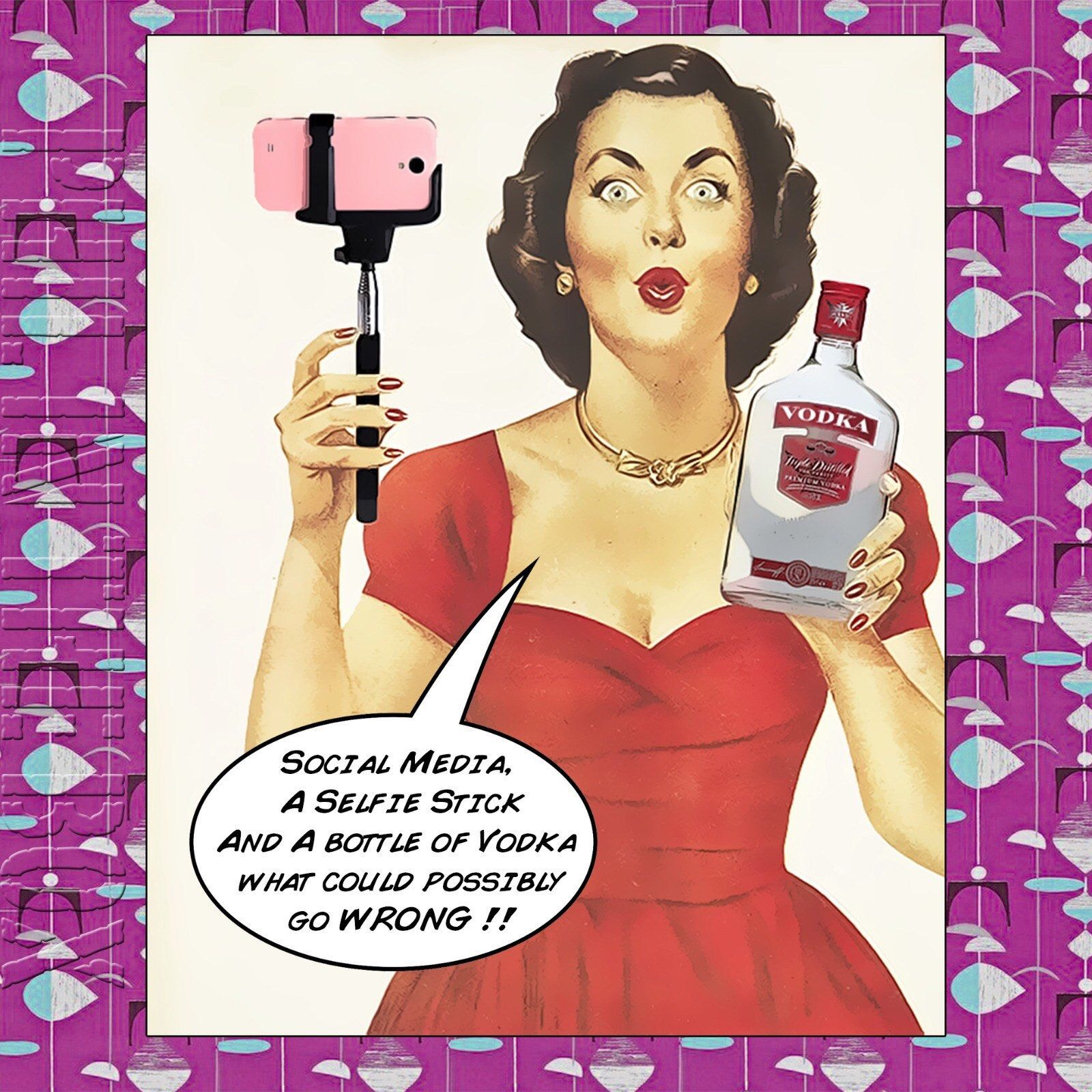 Selfie Queen Birthday Card, Vodka Lover Birthday Card, Card For