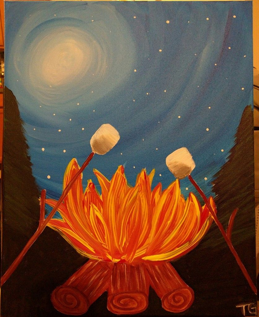 Marshmallows over the campfire | canvas | Pinterest ... Campfire Painting