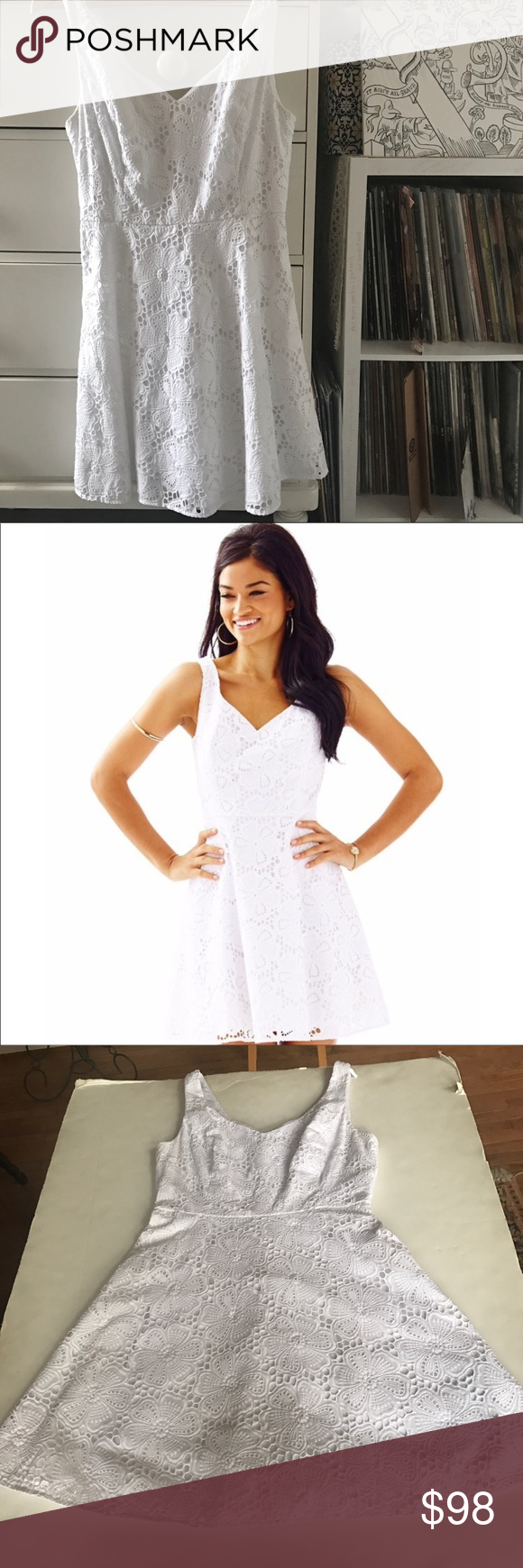 66709338408af1 Lilly All White Dress Lilly Pulitzer Marla dress V neck Eyelet lace Floral  pattern Double lined