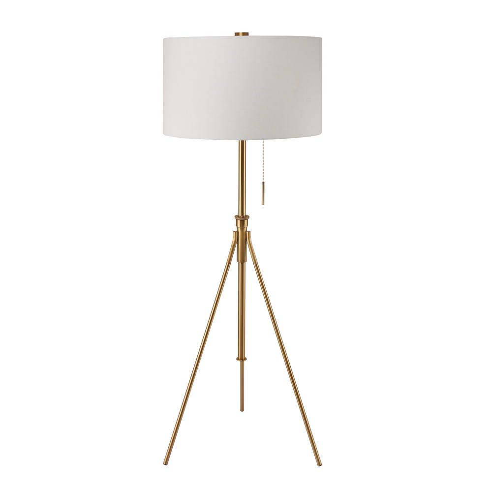 8 In To 72 In H Mid Century Adjustable Tripod Gold Floor Lamp