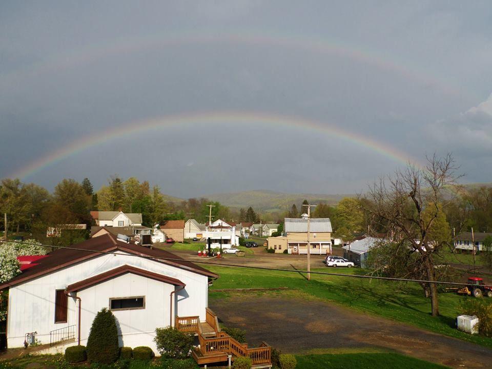 Double rainbow over Smethport, PA. 4/30/17