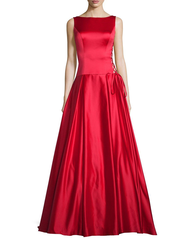 c2f978e00b6 Sleeveless Pleated Satin Ball Gown