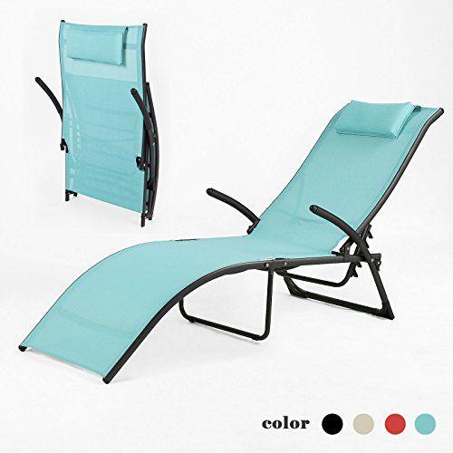 SoBuy Relax Folding Textoline Sun Lounger Recliner Chair Sunbathing,  OGS22 BL, Blue SoBuy