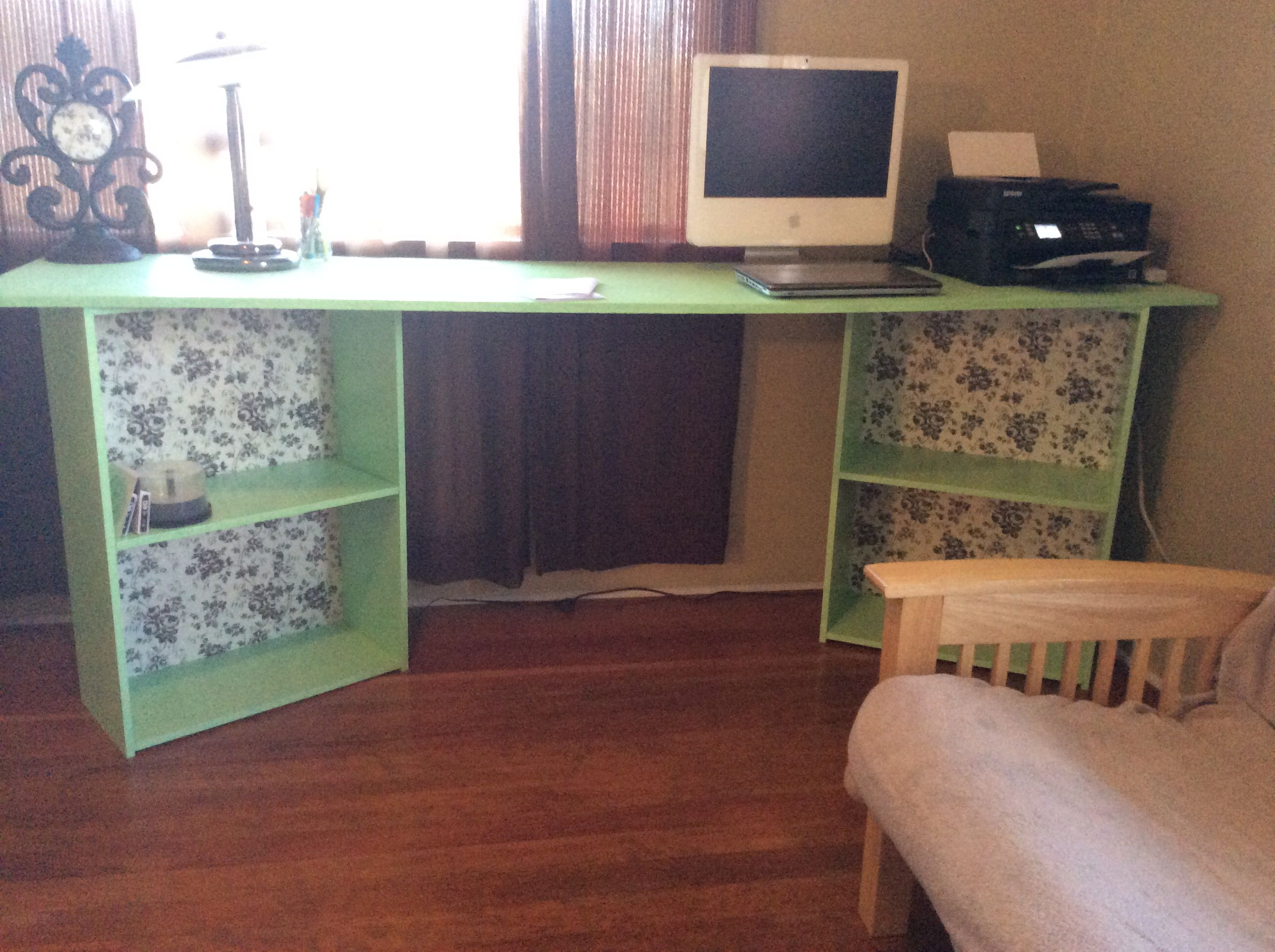 8 Foot Long Homemade Desk 2 Shelves And A Piece Of Particle Board Homemade Desk Craft Room Diy Home Office Desks