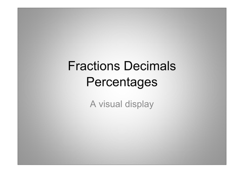 A labour of love: forty nine images of fractions/decimals/percentage plus activity sheets. For Primary KS1 & KS2
