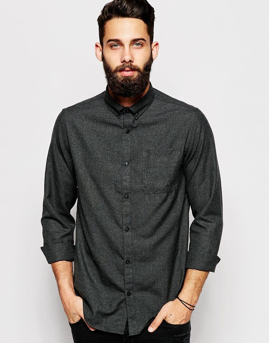 Flannel lookbook men  River Island Long Sleeved Flannel Shirt  Maybe someday clothes