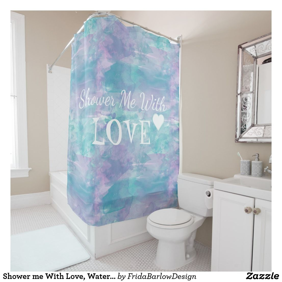 Shower me With Love, Watercolor Purple Text Design Shower Curtain ...