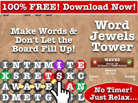 Word Jewels Tower FREE word fun for iPad and iPhone