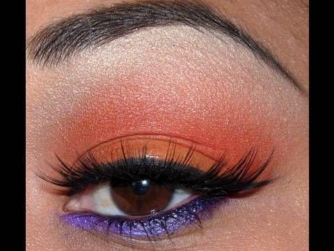 red orange and purple eyeshadow tutorial make me beautiful pinterest purple eyeshadow. Black Bedroom Furniture Sets. Home Design Ideas