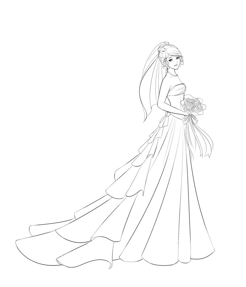 The Wedding Dress Lineart by Dreamerwhit95 | Dibujos | Pinterest ...