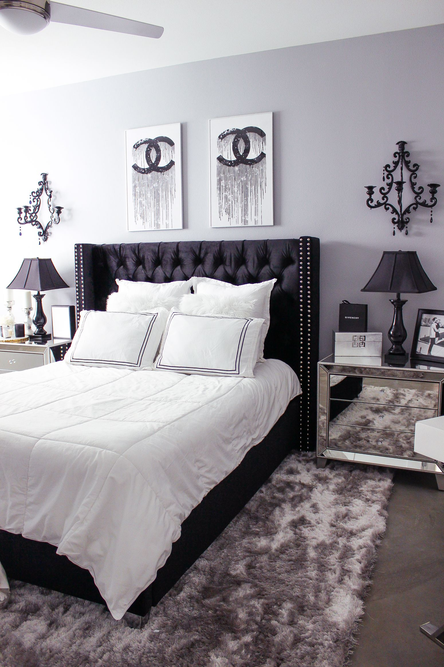 Black U0026 White Bedroom Decor | Chic, Glam Bedroom Decor | Blondie In The  City | Hayley Larue Bedroom Decor | Chanel Decor