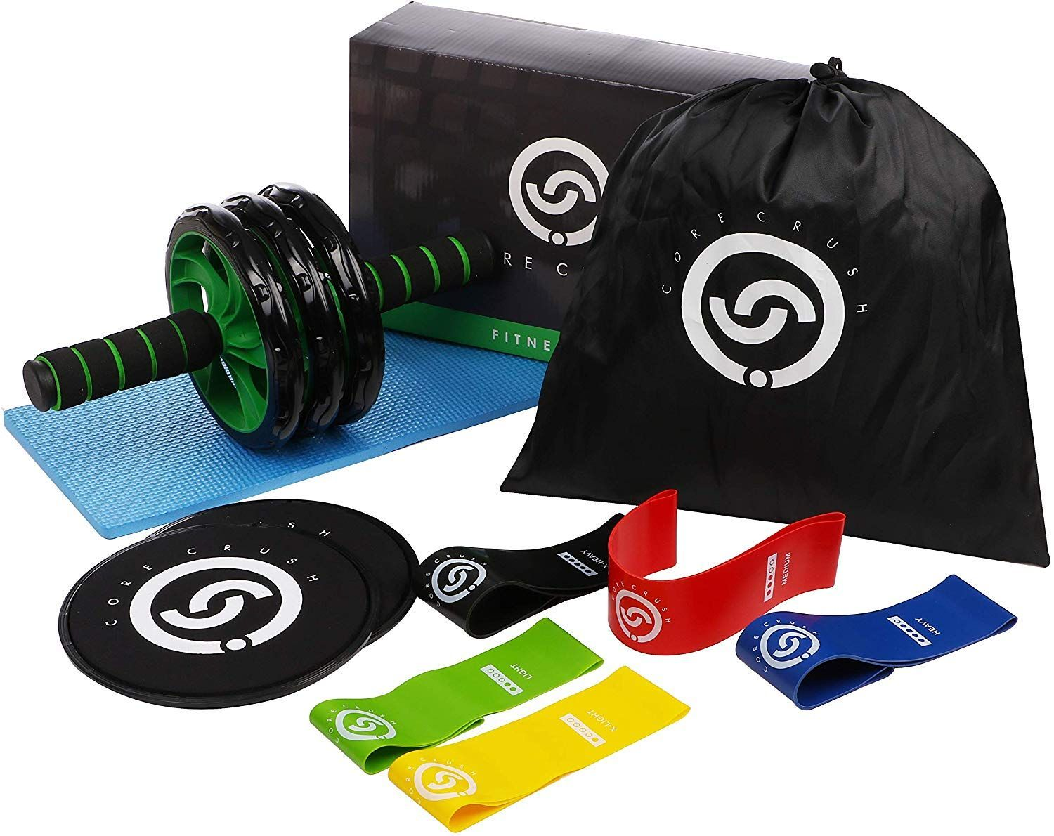 Core Crush Exercise Equipment Fitness Kit – 5 Resistance Bands, 2 Core Disc Sliders, Ab Roller Wheel...