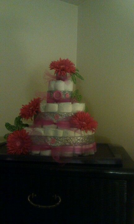 Girly diaper cake (homemade today)