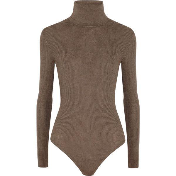 236125dbc412b MICHAEL Michael Kors Ribbed-knit turtleneck bodysuit ❤ liked on Polyvore