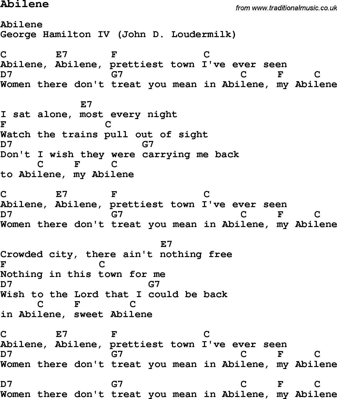 Traditional song abilene with chords tabs and lyrics music traditional song abilene with chords tabs and lyrics hexwebz Image collections