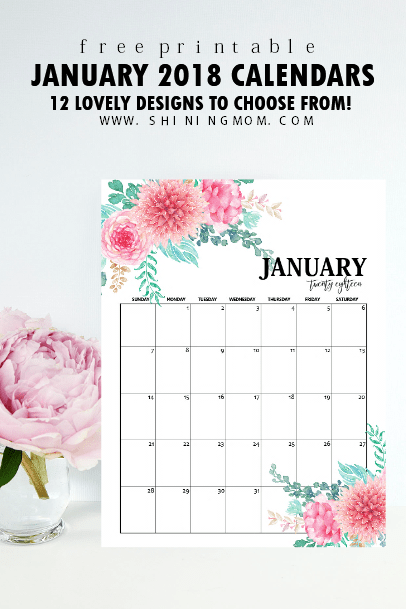 Free Printable January 2018 Calendar: 12 Awesome Designs ...