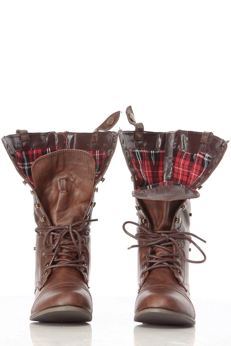 2e99fc9b4dc Brown Faux Leather Fold Over Plaid Print Combat Boots   Cicihot Boots  Catalog women s winter boots