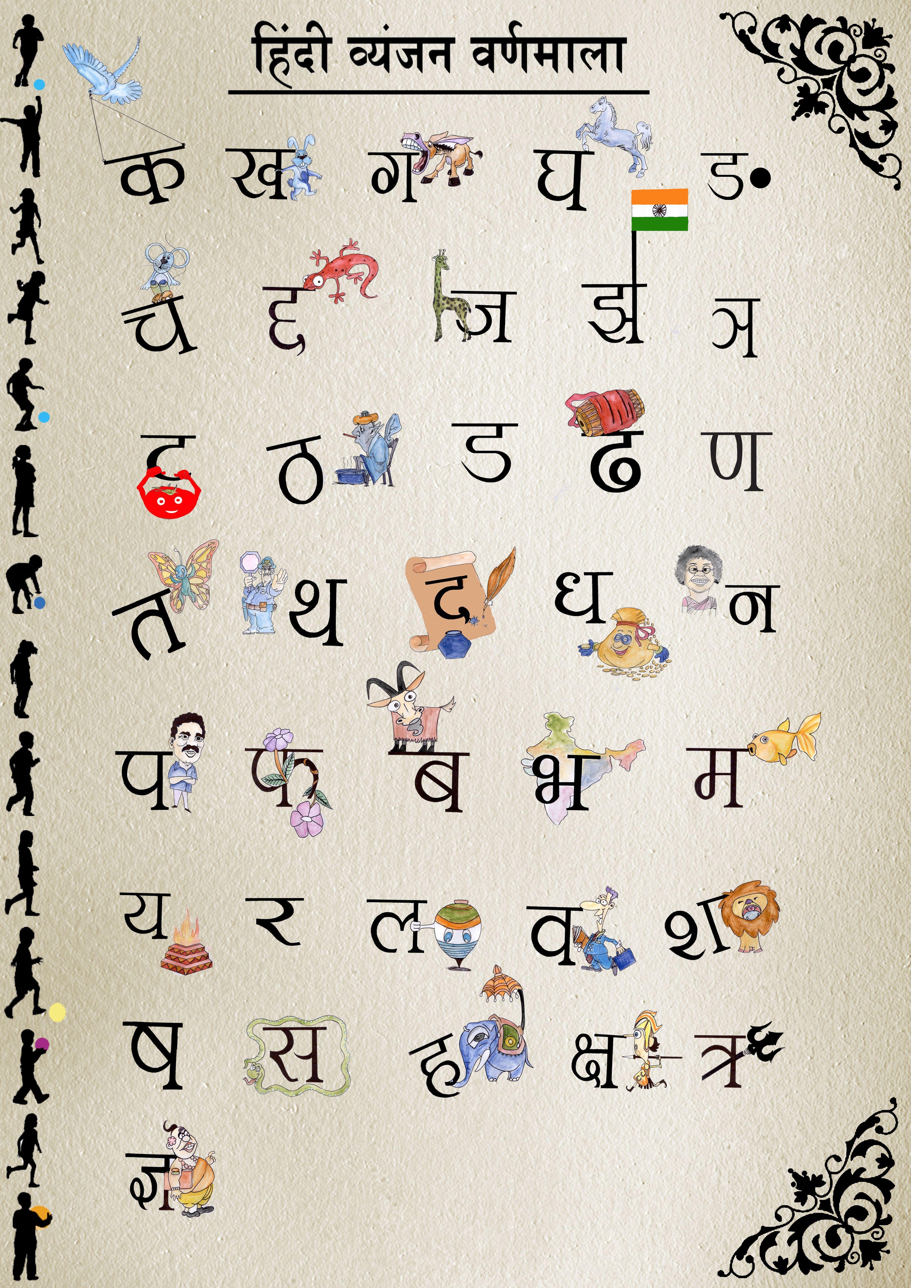 Learn hindi barakhadi with illustrations