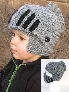 Knight Helmet -- Too cute for words  ) You may first think that this free  pattern is not in English. Scroll down just a bit ae7569a91f3
