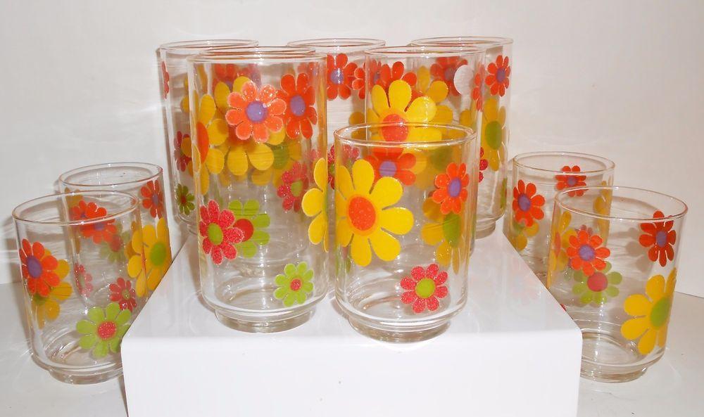 Mod •~~ vintage Libbey daisy drinking glasses