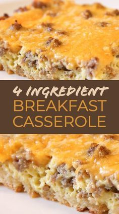 This easy Sausage Egg Casserole is our favorite breakfast casserole recipe!! Only 4 ingredien... This easy Sausage Egg Casserole is our favorite breakfast casserole recipe!! Only 4 ingredients, and you can make this overnight breakfast casserole the day before to save time in the morning.