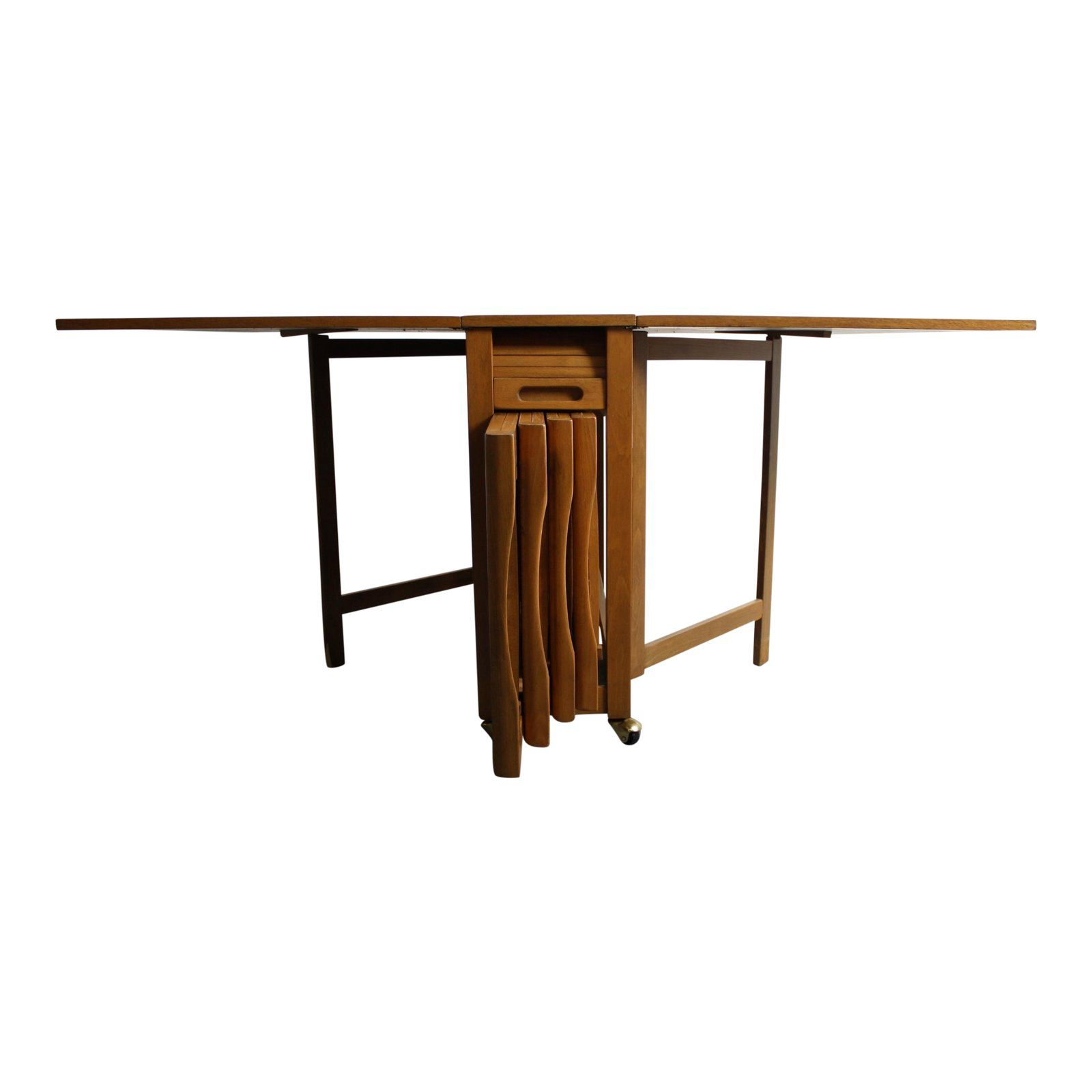 Mid Century Drop Leaf Hideaway Table With 4 Chairs Folding Lounge Chair Drop Leaf Table Chair Style