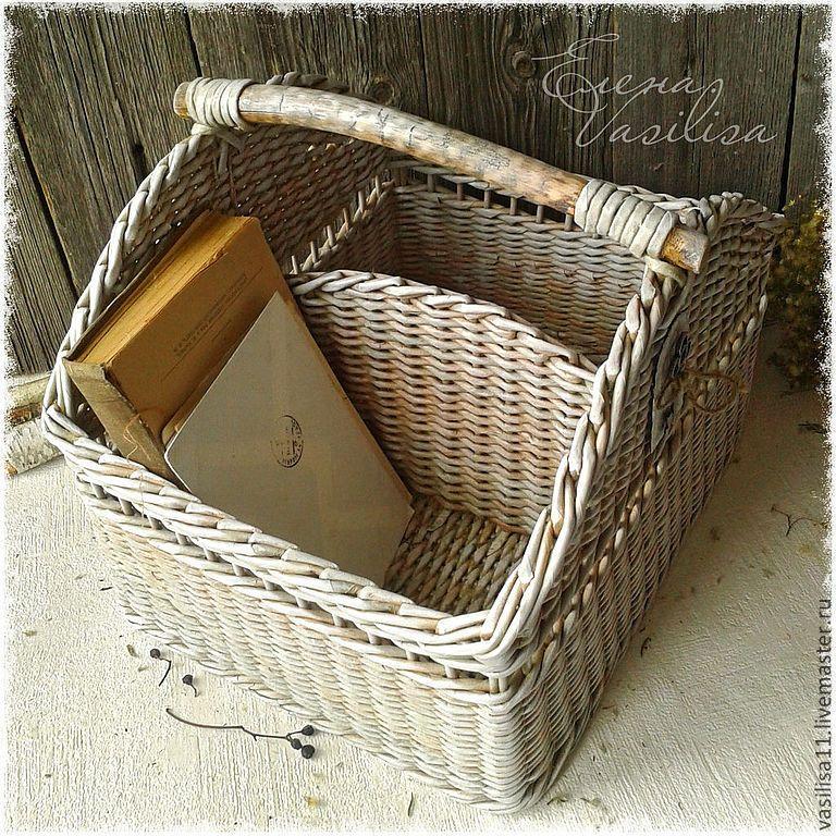"""Короб большой плетеный """"Antique white"""" - плетеный короб,большой,плетение из бумаги"""
