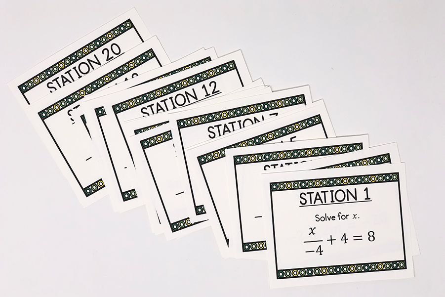 Two Step Equations with Integers Task Cards Math task